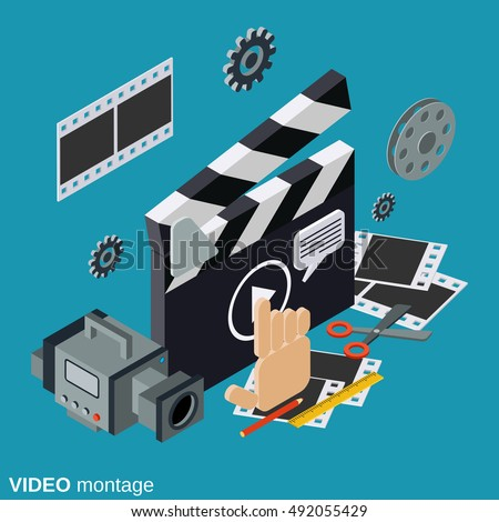 Video production flat isometric vector concept illustration