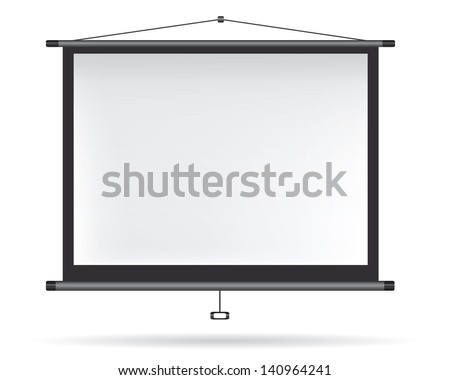 Video projector on white wall - stock vector