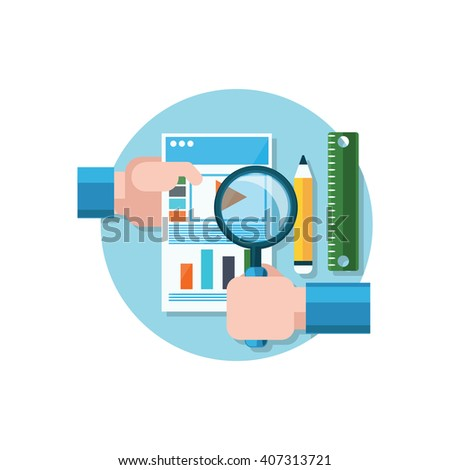 Video promotion icon flat design. Magnifying glass in hand. Analysis and analytics, research and search. Data statistics on the video promotion on the paper sheet of paper. Vector illustration - stock vector