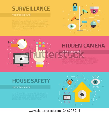 Video surveillance banners. Security cameras and monitoring concept. CCTV icons made in modern flat style. Vector flyers template.  - stock vector