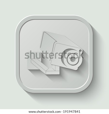 Video surveillance Camera icon - vector button with shadow on light background