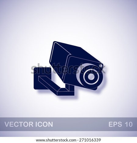 Video surveillance camera vector icon - dark blue illustration with blue shadow - stock vector