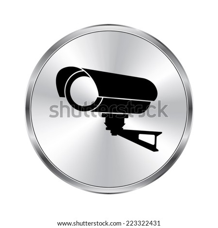 Video surveillance CCTV Camera icon - vector brushed metal button - stock vector