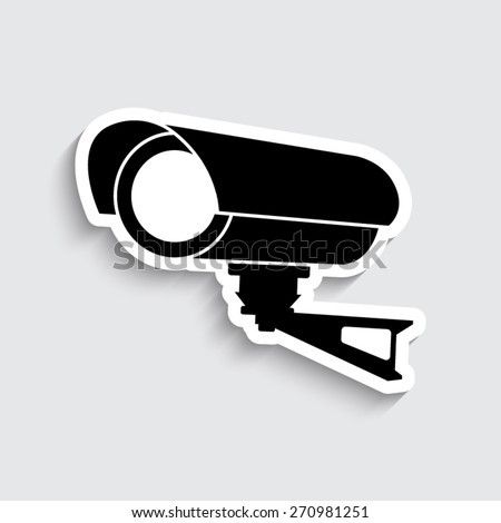 Video surveillance CCTV Camera - vector icon - stock vector