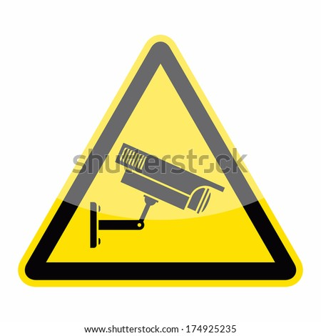 Video surveillance, CCTV camera, warning icon (triangle sign, button) - stock vector