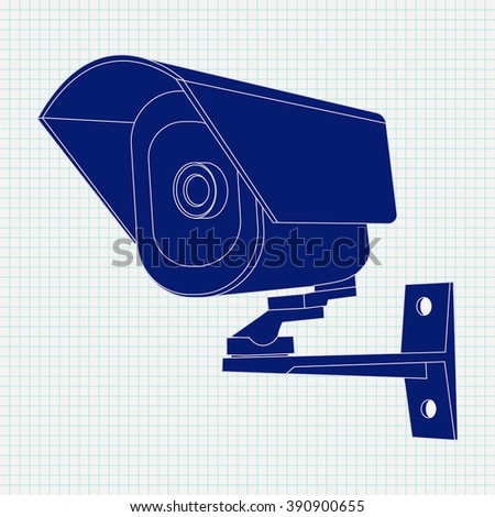 Video surveillance CCTV security camera Icon. Vector illustration on a notebook sheet  background