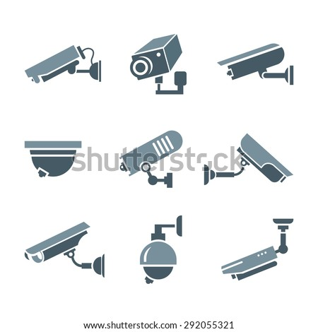 Video surveillance security cameras graphic pictograms or icons set isolated vector illustration