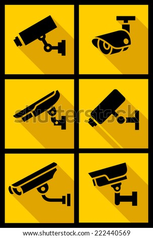 Video surveillance, set yellow square, vector illustration - stock vector