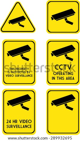 Video surveillance sign. CCTV Camera. - stock vector