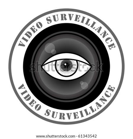 Video surveillance sign, vector illustration - stock vector