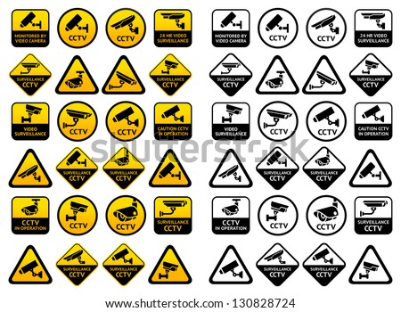 Video surveillance signs - Big yellow and black sets, vector illustration