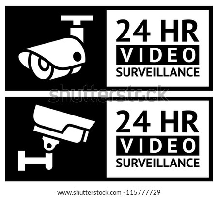 Video surveillance stickers set - stock vector