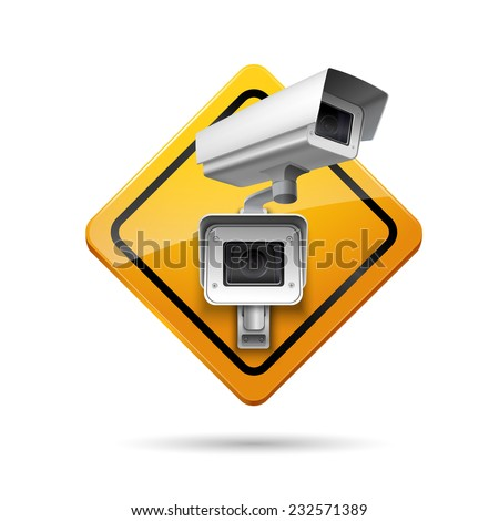 Video surveillance yellow sign with security camera  digital control vector illustration - stock vector