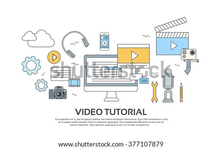 Video Tutorial Editor Concept Modern Technology Banner Icons Vector Illustration