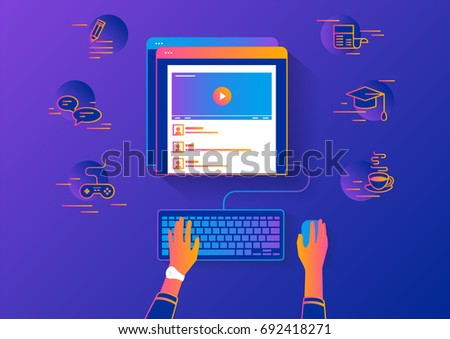 Video tutorial streaming isolated on red background. Elearning and video watching gradient line vector illustration of female hands using browser searching video tutorial or vlog for distance learning