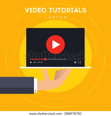 Video tutorials on Laptop icon concept. Study and learning background, distance education and knowledge growth. Video conference and webinar icon - stock vector
