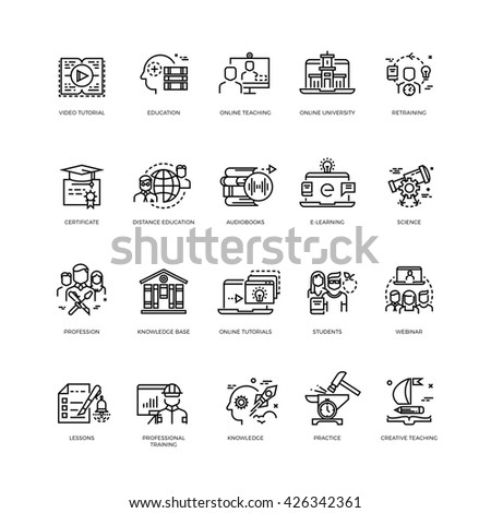 Video tutorials, training courses, online education vector line icons set. Education concept training and education science illustration - stock vector
