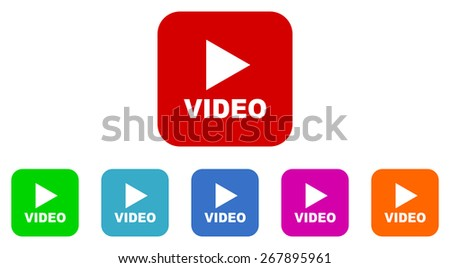 video vector icon set - stock vector