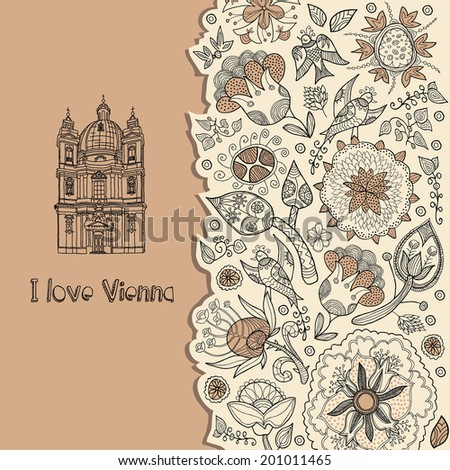 Vienna. background with text - stock vector