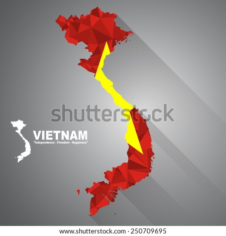 Vietnam flag overlay on Vietnam map with polygonal and long tail shadow style (EPS10 art vector) - stock vector