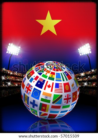 Vietnam Flag with Globe on Stadium Background Original Illustration