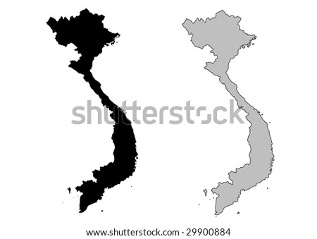 Vietnam map. Black and white. Mercator projection. - stock vector