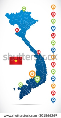 Vietnam Map with Navigation Icons - stock vector