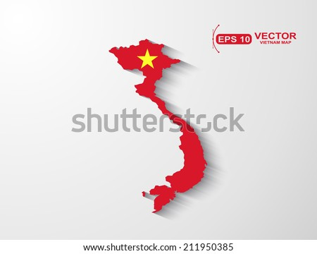 Vietnam  map with shadow effect - stock vector