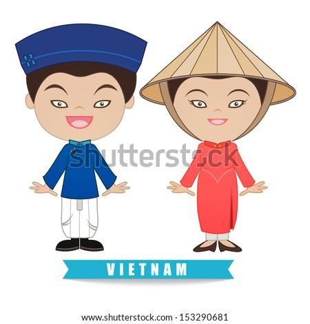 Vietnam traditional costume, illustration Vector - stock vector