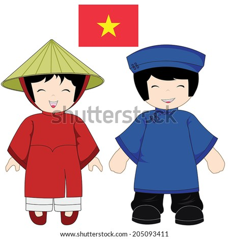 Vietnam traditional costume on white background