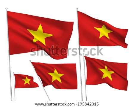 Vietnam vector flags. A set of 5 wavy 3D flags created using gradient meshes. - stock vector