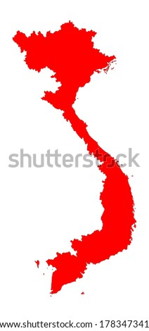 Vietnam vector map silhouette isolated on white background. - stock vector