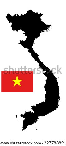 Vietnam vector map silhouette isolated on white background. Original and simple Vietnam flag isolated vector in official colors and Proportion  - stock vector