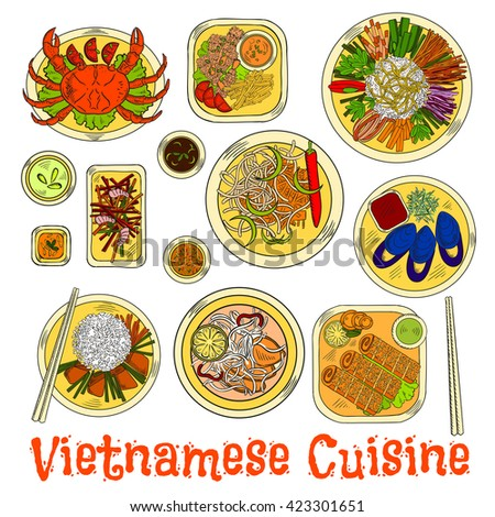 Vietnamese cuisine with steamed crab and mussels, shrimps and spring rolls in sesame seeds, garlic carrot and prawn salads, vegetables and sticky rice, spicy sauces and rice noodle pork soup - stock vector