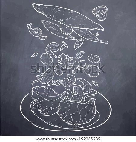 Vietnamese Food Sizzling Pancake Chalk Board