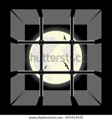 view from the prison cell window. vector illustration - stock vector