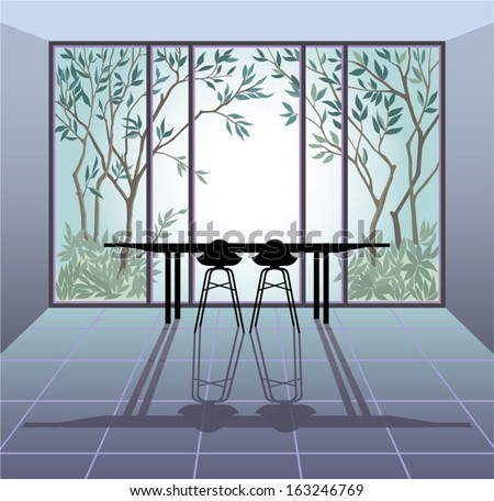 View from the window on trees. Vector illustration. - stock vector