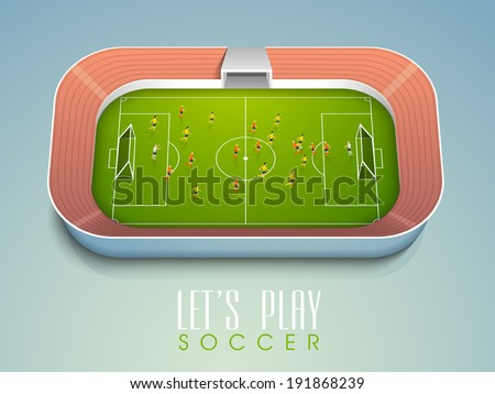 View from top of a soccer ball match with player in position. stylish sports concept.  - stock vector