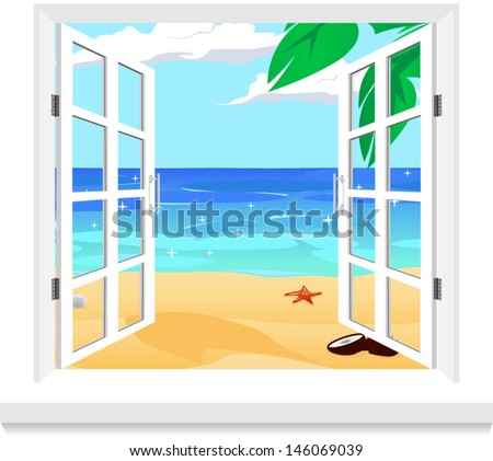 view from twindow vector - stock vector
