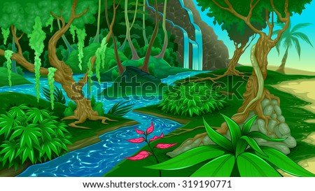 View in the jungle. Vector illustration - stock vector