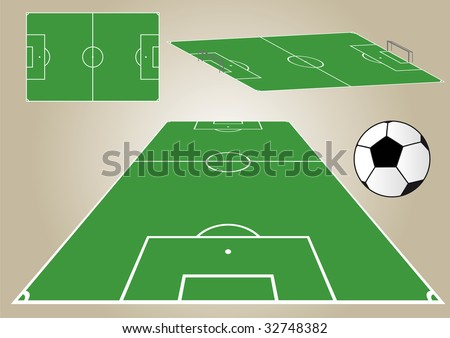 View of a football field from different angles. Vector file. Soccer - stock vector