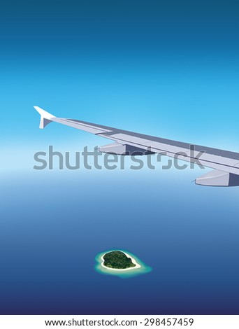 View of beautiful island from window of airplane flying over the sea - stock vector