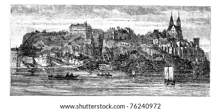 View of boats in river with building and castle on a hill in the background, in Old Breisach, Germany, vintage engraving from 1890s. - stock vector