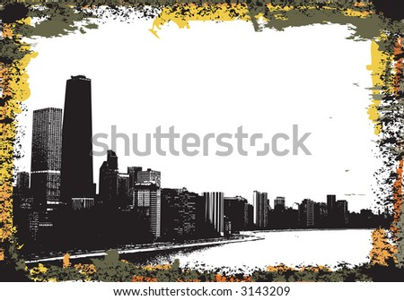 View of chicago and lake michigan - stock vector