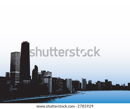 View of Chicago skyline from Lake Michigan - stock vector