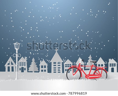View of cityscape white Urban Countryside with snow and winter season, Paper art and  Illustration