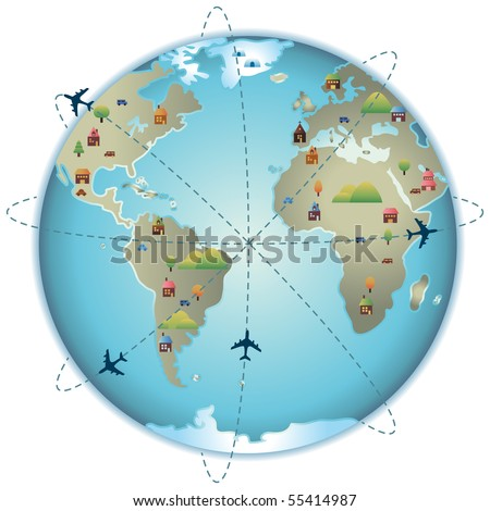 View of Earth planet with trees, houses, cars and mountains and airplanes do routes around the world - stock vector