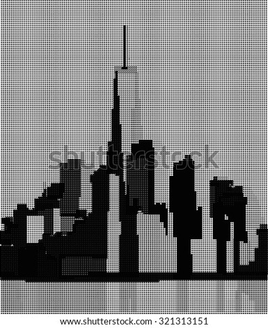 View of Manhattan from the Hudson River side. New York City. Halftone - stock vector