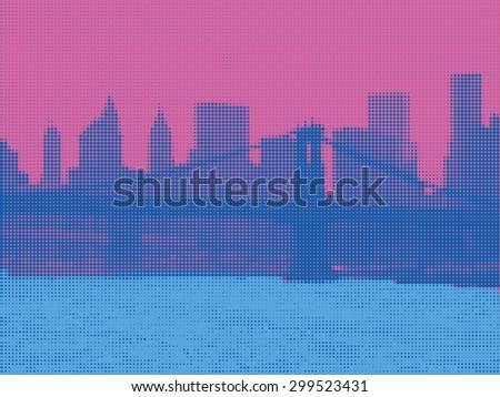 View of Manhattan in Pop Art Style. New York. Halftone - stock vector
