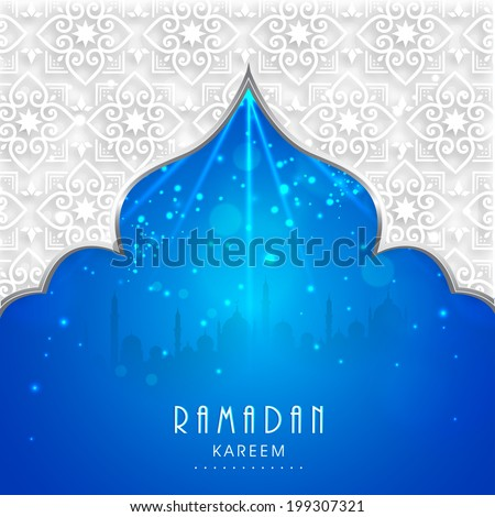 View of mosque in shiny blue night background for holy month of muslim community Ramadan Kareem.  - stock vector